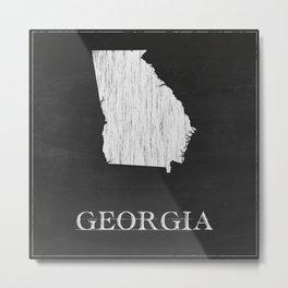 Georgia State Map Chalk Drawing Metal Print