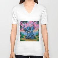 stitch V-neck T-shirts featuring Stitch by spiderdave7
