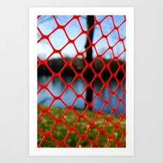 Red fencing Art Print