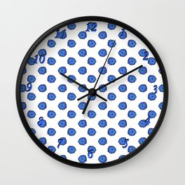 Blue flowers on white Wall Clock