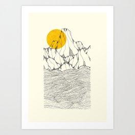Sun and sea cliffs Art Print
