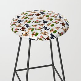 Christmas goats in sweaters repeating seamless pattern Bar Stool