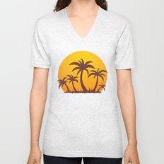 Palm Trees And Summer Sunset Unisex V-Neck