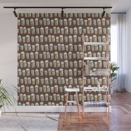 Coffee Cup Line Up in Expresso Brown Wall Mural