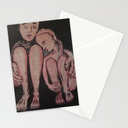 the couple - ink and chalk on paper Stationery Cards