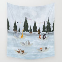 the great paper boat race Wall Tapestry