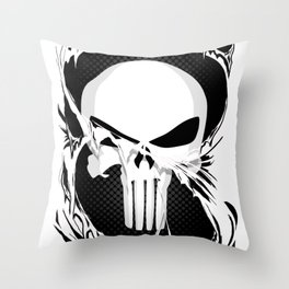 Punisher Skull Within Ripped Fabric Throw Pillow
