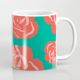 Dusty Rosy Roses and Pinks on Teal Coffee Mug