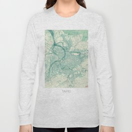Taipei Map Blue Vintage Long Sleeve T-shirt