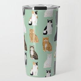 Cat breeds pattern kitty kittens cats tabby siamese white tortoiseshell Travel Mug
