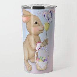 Brown Bunny and Basket Travel Mug