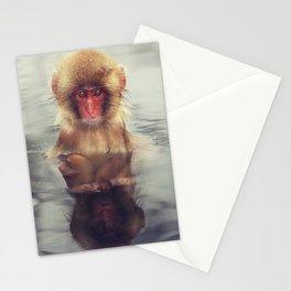 Reflecting Snow Monkey Stationery Cards