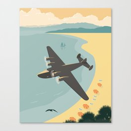 Vintage Plane Over The Beach Canvas Print
