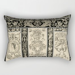 Renaissance pattern from L'ornement Polychrome (1888) by Albert Racinet Rectangular Pillow