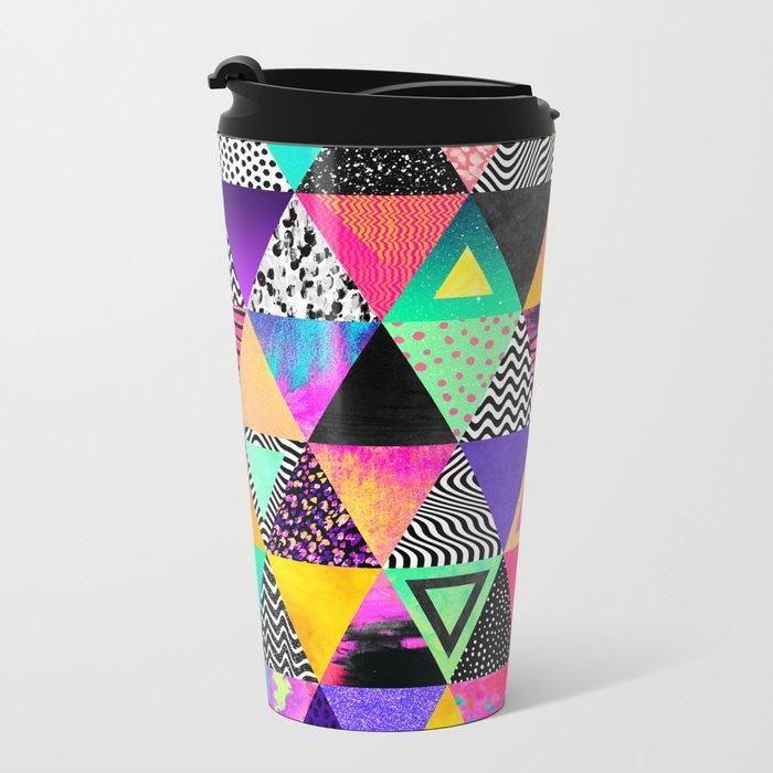 Quirky Triangles Metal Travel Mug