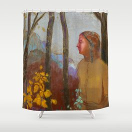 """Odilon Redon """"Évocation (Femme à la montagne)"""" Shower Curtain"""