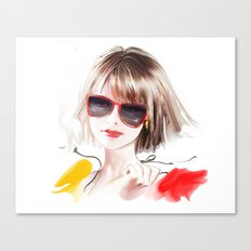 blonde in glasses Canvas Print