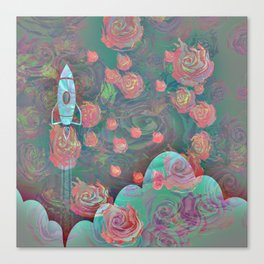 Rocket and Roses Landscape Print Canvas Print