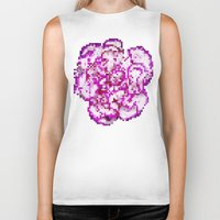 8bit Biker Tanks featuring 8BIT flower by Alfredo Lietor