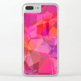 Pink Geometric Polygons Clear iPhone Case