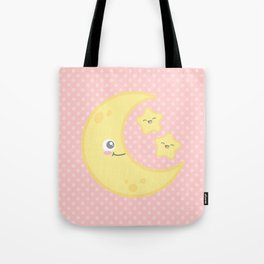 Kawaii Moon and Stars (Pink) Tote Bag
