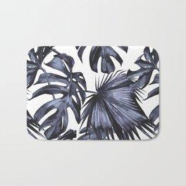 Classic Palm Leaves Navy Blue Bath Mat