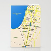 israel Stationery Cards featuring Israel Map design by Efratul