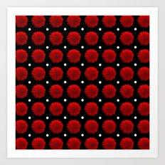 Red Carnation Polka Dot Art Print