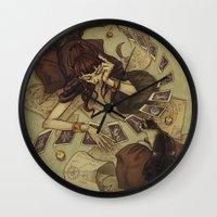 house of cards Wall Clocks featuring Cards by Lenka Simeckova