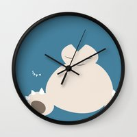 snorlax Wall Clocks featuring Snorlax by Rebekhaart