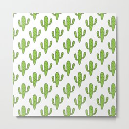 Hand painted green black white floral cactus Metal Print