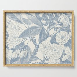 Floral Rose, Vintage Print, Botanical, Blue Serving Tray