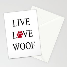 Live Love Woof with the O in Love replaced with a Paw Print Stationery Cards