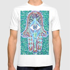 hamsa - glass MEDIUM Mens Fitted Tee White