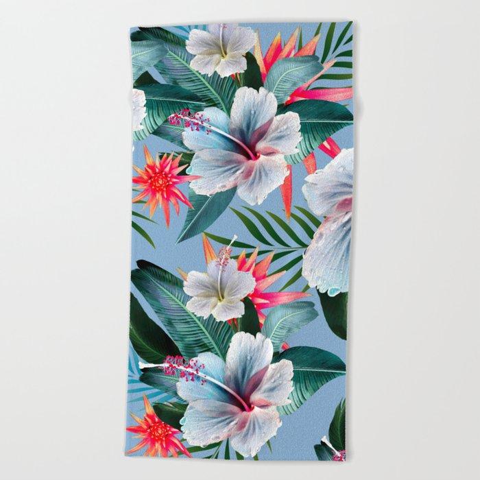 Hawaii Tropical Hibiscus Vintage Style Blue Dream Palm Leaves Beach