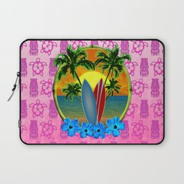 Pink Tikis Sunset And Surfboards Laptop Sleeve