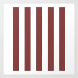 Brandy purple -  solid color - white vertical lines pattern Art Print