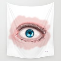 scary Wall Tapestries featuring Scary eye by Miss No!
