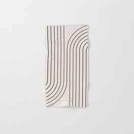 Minimal Line Curvature - Black and White I Hand & Bath Towel
