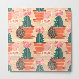 Harvest Love Collection: Harvest Love, Some Hot Coffee, a Pine Cone and Moon Cactus Metal Print