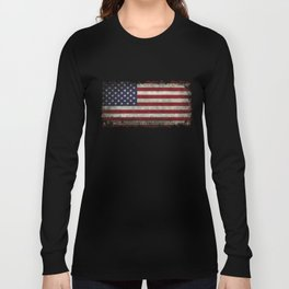 American Flag, Old Glory in dark worn grunge Long Sleeve T-shirt