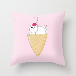 ICE CREAM CAT Throw Pillow