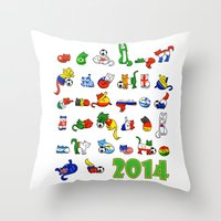 world cup Throw Pillows featuring WORLD CUP KITTEHS 2014 by Helenasia