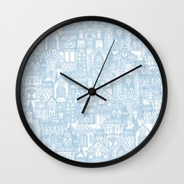 gingerbread town blue Wall Clock