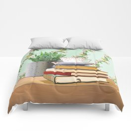 Tea and book love Comforters