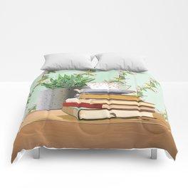 Tea and book love Comforters