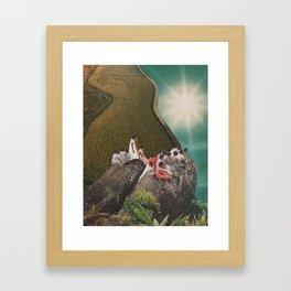 Teal Leaves Framed Art Print