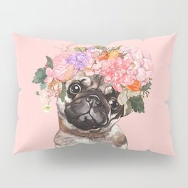 Pug with Flower Crown Pillow Sham