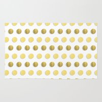 gold foil Area & Throw Rugs featuring Gold Dots - modern gold foil dots polka dots pattern print gold foil  by CharlotteWinter