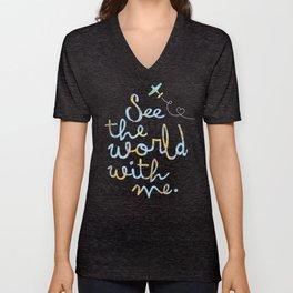 See the world art print Unisex V-Neck